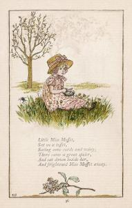 Sufferers from Arachnophobia Will Sympathise with Little Miss Muffet by Kate Greenaway