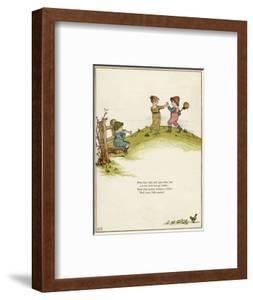 Three Children Playing on a Hill by Kate Greenaway