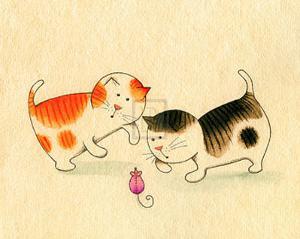 Playful Kittens I by Kate Mawdsley