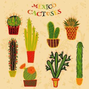 Flat Colorful Illustration of Mexican Succulent Plants and Cactuses in Pots. Vector Botanical Graph by kateja