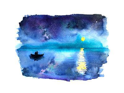 Romantic Starry Night Lake View with Full Moon and Couple in a Boat, Hand-Drawn Watercolor