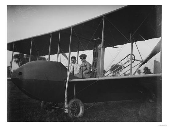 Katharine Wright with Orville in Model HS Plane Photograph - Kitty Hawk, NC-Lantern Press-Art Print