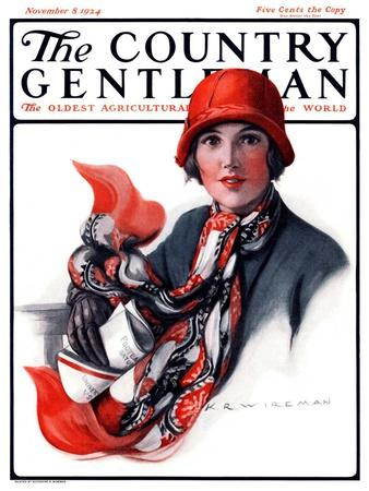 """""""Woman in Red Cloche and Scarf,"""" Country Gentleman Cover, November 8, 1924"""