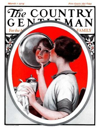 """""""Woman Reflected in Silver Tray,"""" Country Gentleman Cover, March 1, 1924"""
