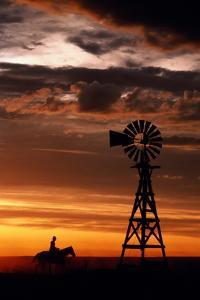Man on Horse, Riding past Wind Turbine, Silhouetted at Sunset by Kathi Lamm