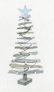 Coastal Holiday Tree III by Kathleen Parr McKenna