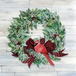Holiday Wreath I on Wood by Kathleen Parr McKenna