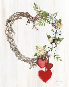 Rustic Valentine Heart Wreath II by Kathleen Parr McKenna