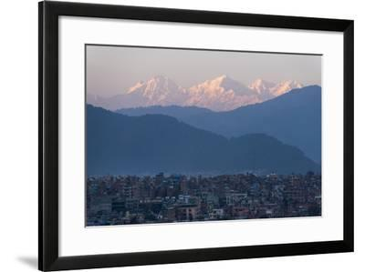 Kathmandu and Ganesh Himal range seen from Sanepa, Nepal, Himalayas, Asia-Alex Treadway-Framed Photographic Print