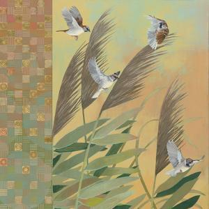 Sparrows and Phragmates August Evening by Kathrine Lovell