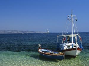 Greek Boats, Kalami Bay, Corfu, Ionian Islands, Greece, Europe by Kathy Collins