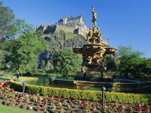 The Castle from Princes Street Gardens, Edinburgh, Lothian, Scotland, UK, Europe by Kathy Collins