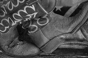 Cowboy Boots BW I by Kathy Mahan