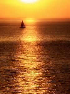 Sailboat at Sunset I by Kathy Mansfield