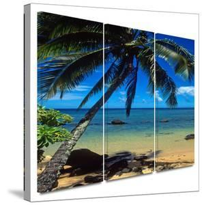 Beautiful Smini Beach 3 piece gallery-wrapped canvas by Kathy Yates