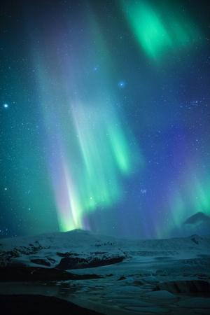 Iceland, Fjallsarlon. the Northern Lights Appearing in the Sky at Fjallsarlon