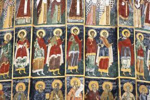 Romania, Bucovina, Sucevita. Wall Painting in Sucevita Monastery by Katie Garrod