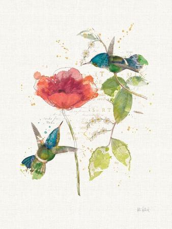 Teal Hummingbirds II Flower