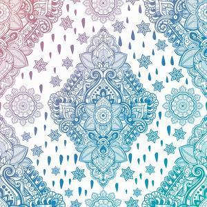 Beautiful Bohemian Floral Paisley Seamless Ornament. Folk Henna Tattoo Style Seamless Pattern. Indi by Katja Gerasimova