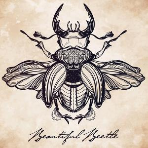 Beautiful Hand Drawn Antique Stag Beetle,The Largest Insect. Vintage Style Tattoo Vector Art. Engra by Katja Gerasimova