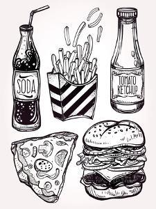 Fast Food Set Vintage Linear Style. by Katja Gerasimova
