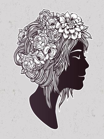 Hand Drawn Beautiful Artwork of a Girl Head with Decorative Hair and Romantic Flowers on Her Head.