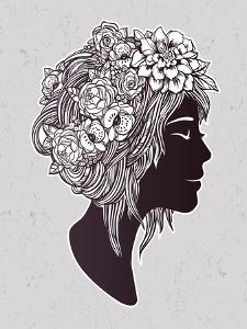 Hand Drawn Beautiful Artwork of a Girl Head with Decorative Hair and Romantic Flowers on Her Head. by Katja Gerasimova