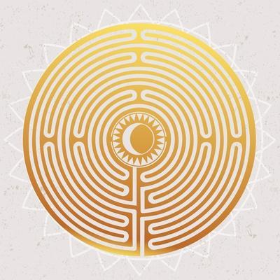 Hand Drawn Maze Labyrinth with Sun in It.
