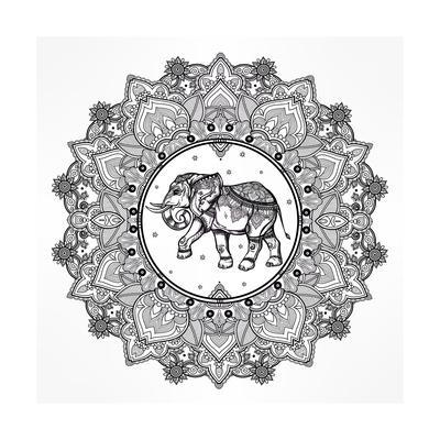 Hand Drawn Ornate Paisley Mandala with Elephant Inside. Ideal Ethnic Background, Tattoo Art, Yoga,