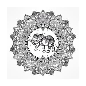 Hand Drawn Ornate Paisley Mandala with Elephant Inside. Ideal Ethnic Background, Tattoo Art, Yoga, by Katja Gerasimova