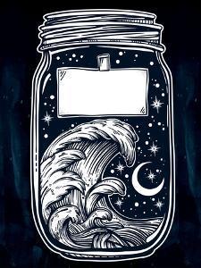 Hand Drawn Romantic Wish Jar with Night Sky and Water Waves in the Sea or Ocean . Vector Illustrati by Katja Gerasimova