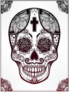 Sugar Skull in Floral Frame Illustration. by Katja Gerasimova
