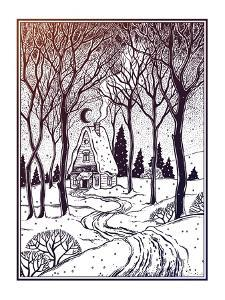 Wood Cabin in Winter Forest Landscape with Trees and Snow Road. Vector Illustration Isolated. Retro by Katja Gerasimova