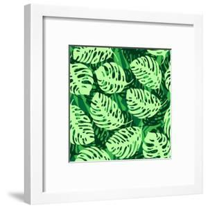 Monstera Leaves on Green Wave Background Pattern by katritch
