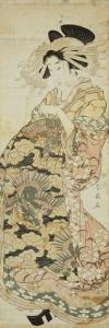 Courtesan Wearing Dragon Pattern Kimono by Katsukawa Shunsen