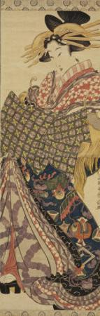 Young Woman in Traditional Highly Decorative Japanese Costume by Katsukawa Shunsen
