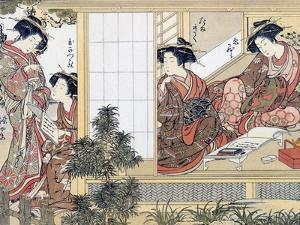 Japanese Women Reading and Writing (Colour Woodblock Print) by Katsukawa Shunsho