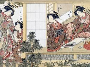 Japanese Women Reading and Writing (Colour Woodblock Print) by Katsukawa Shunsho