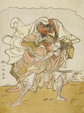 The Warrior Omori Hikoshichi Carrying a Female Demon on His Back, C.1772