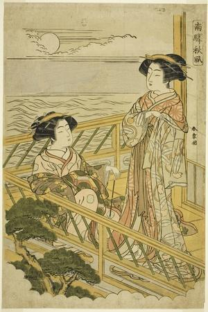 Two Courtesans on a Moonlit Balcony at a House of Pleasure in Shinagawa, C.1774
