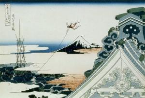 36 Views of Mount Fuji, no. 11: Asakusa Honganji Temple in the Eastern Capital by Katsushika Hokusai