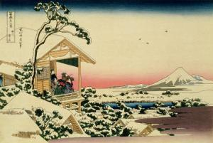 36 Views of Mount Fuji, no. 24: Tea House at Koishikawa (The Morning after a Snowfall) by Katsushika Hokusai