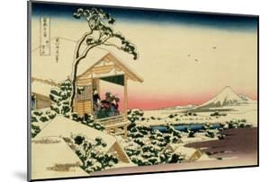 36 Views of Mount Fuji, no. 24: Tea House at Koishikawa (The Morning after a Snowfall) by Katsushika Hokusai
