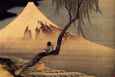 Katsushika Hokusai A Boy in front of Fujiama-Katsushika Hokusai-Art Print