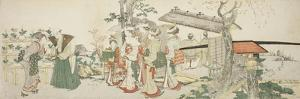 A Group of Young Women Entering the Garden of a Horticulturist by Katsushika Hokusai