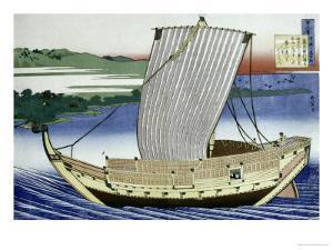 A Large Junk in Full Sail by Katsushika Hokusai