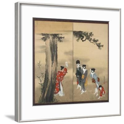 A Shinto Priest, Three Women and a Child, Edo Period, C.1799