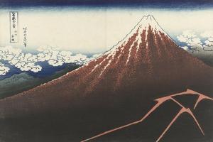A Thunderstorm Below The Summit, c.1830 by Katsushika Hokusai
