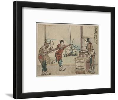 An Older Man and Two Young Apprentices Manually Operating a Stirring Device, Yoshiwara