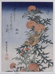 Bec croisé et chardon by Katsushika Hokusai
